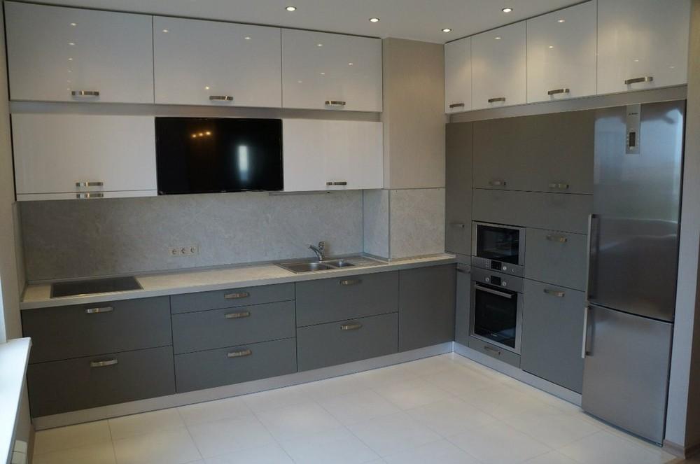 Белый кухонный гарнитур-Кухня из ЛДСП «Модель 196»-фото1