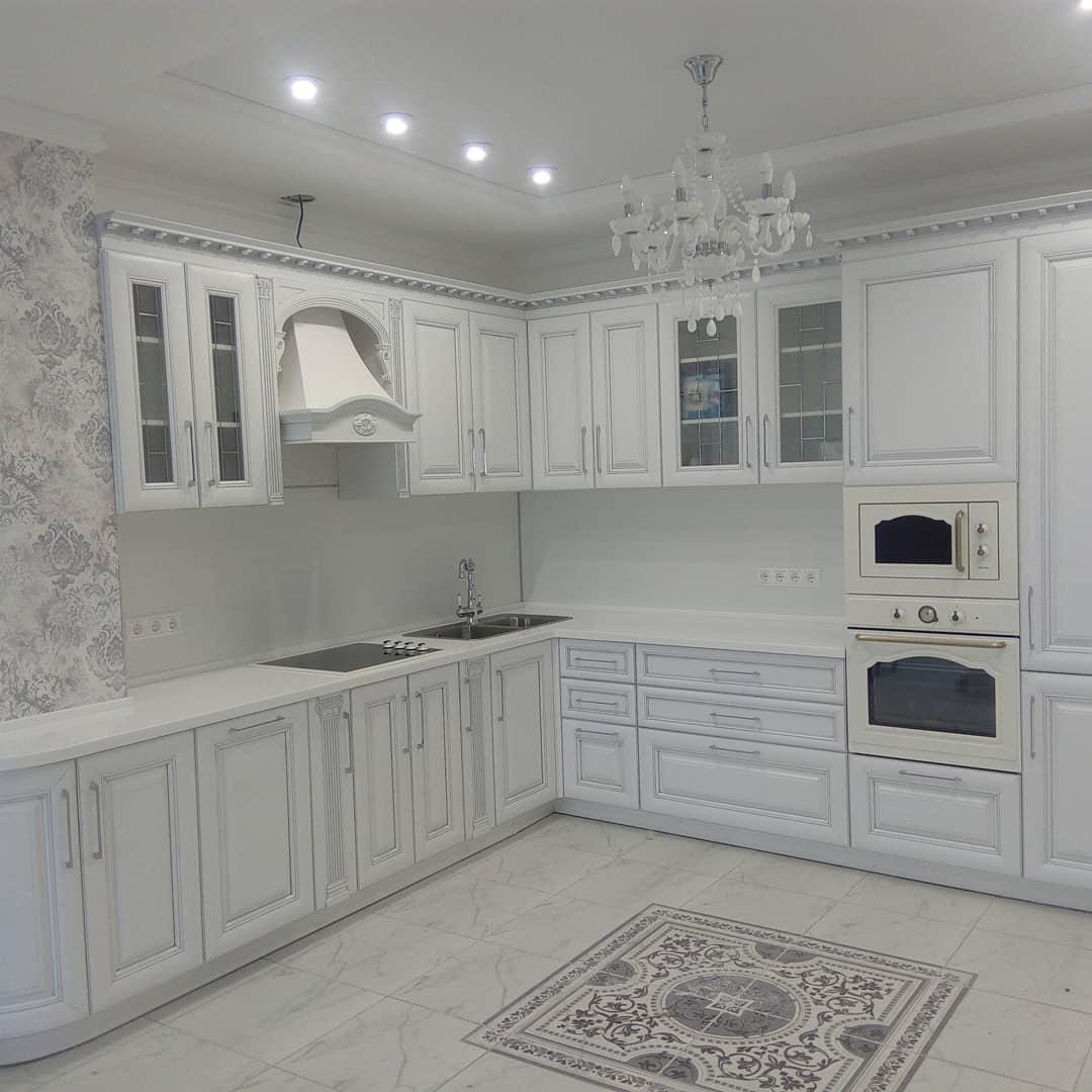 Белый кухонный гарнитур-Кухня МДФ в ПВХ «Модель 34»-фото1