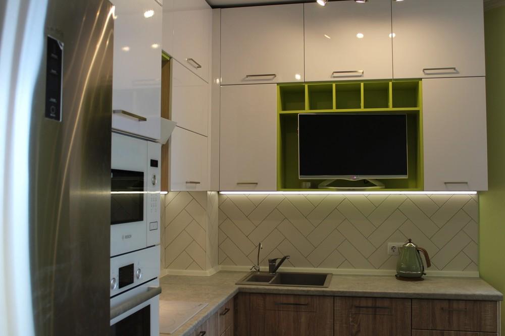 Акриловые кухни-Кухня МДФ в ПВХ «Модель 77»-фото4