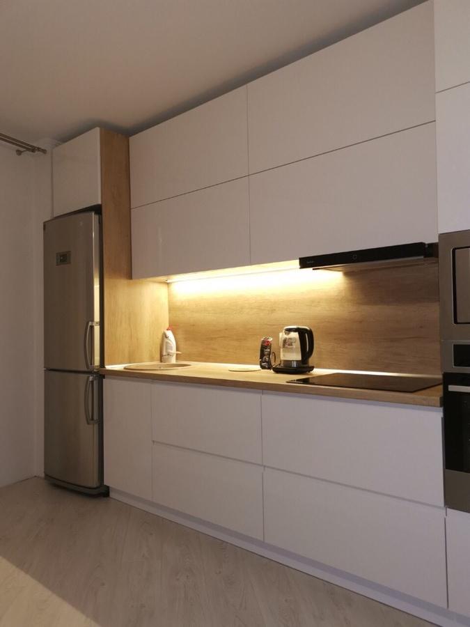 Белый кухонный гарнитур-Кухня МДФ в эмали «Модель 144»-фото1