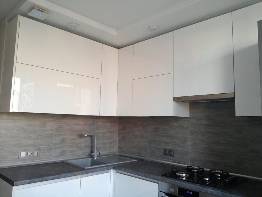 Белый кухонный гарнитур-Кухня из пластика «Модель 361»-фото4