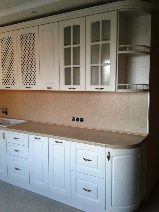 Белый кухонный гарнитур-Кухня МДФ в ПВХ «Модель 387»-фото3