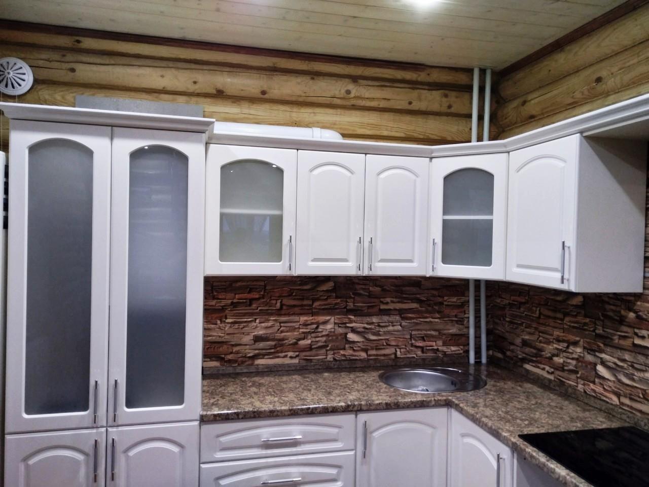 Белый кухонный гарнитур-Кухня МДФ в эмали «Модель 546»-фото4