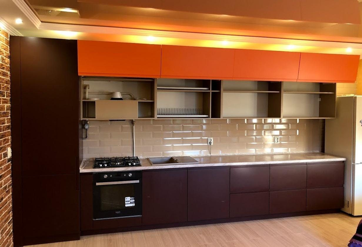Встроенная кухня-Кухня МДФ в эмали «Модель 571»-фото3
