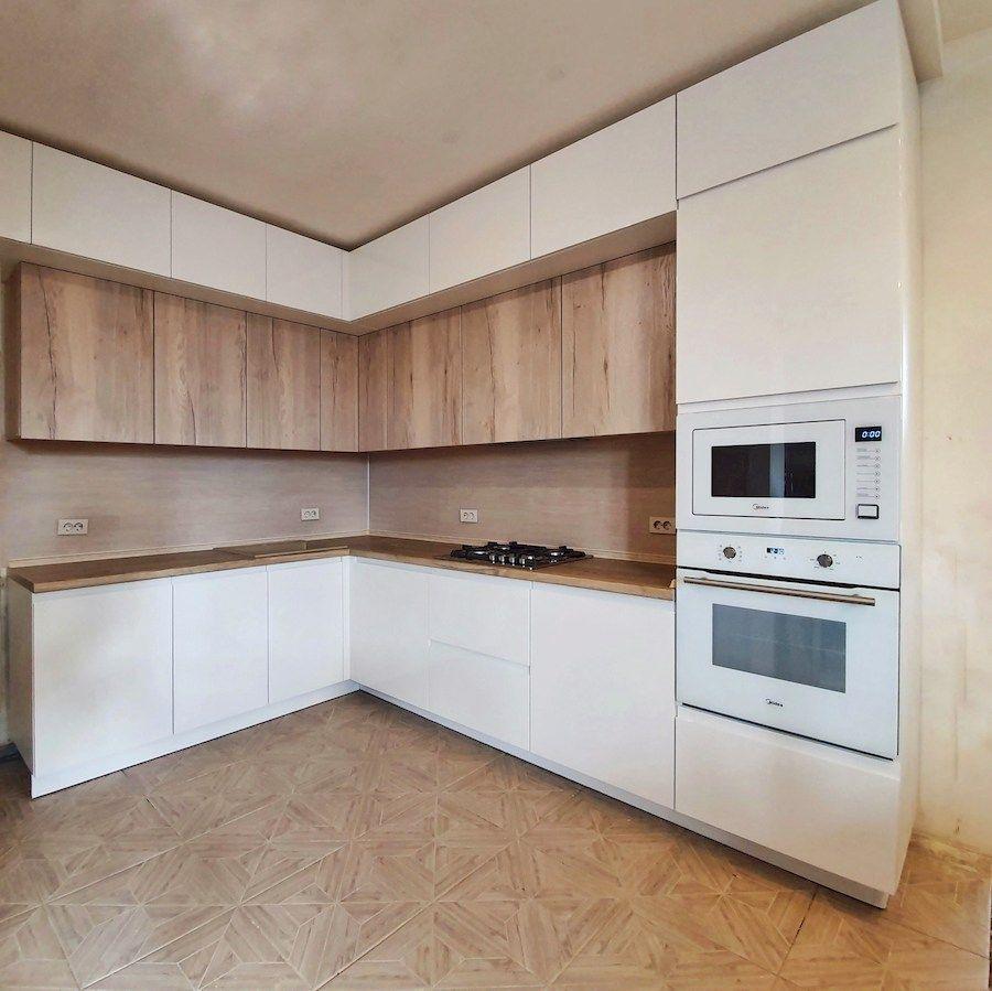 Белый кухонный гарнитур-Кухня МДФ в эмали «Модель 543»-фото1