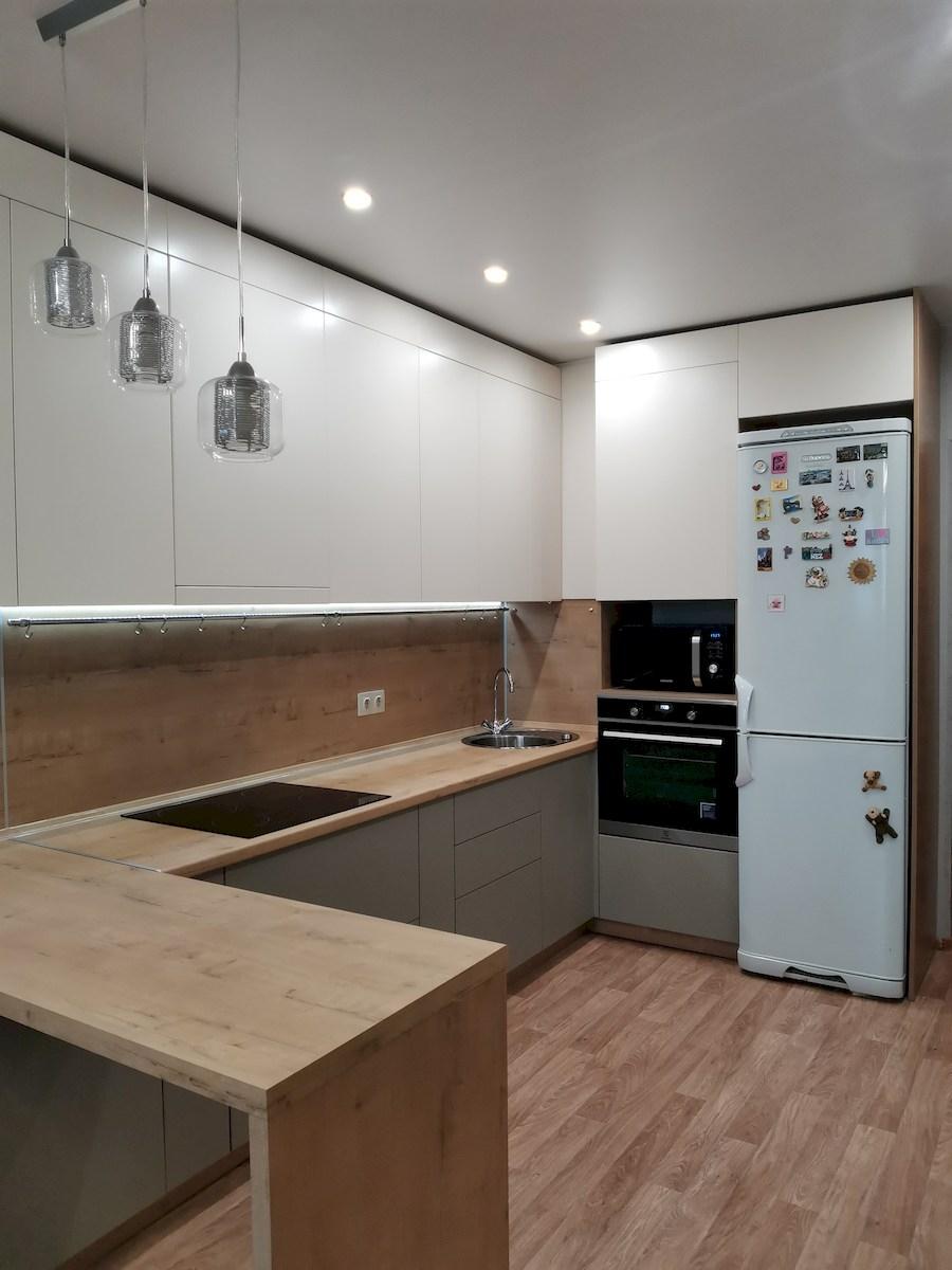 Белый кухонный гарнитур-Кухня МДФ в ПВХ «Модель 578»-фото1