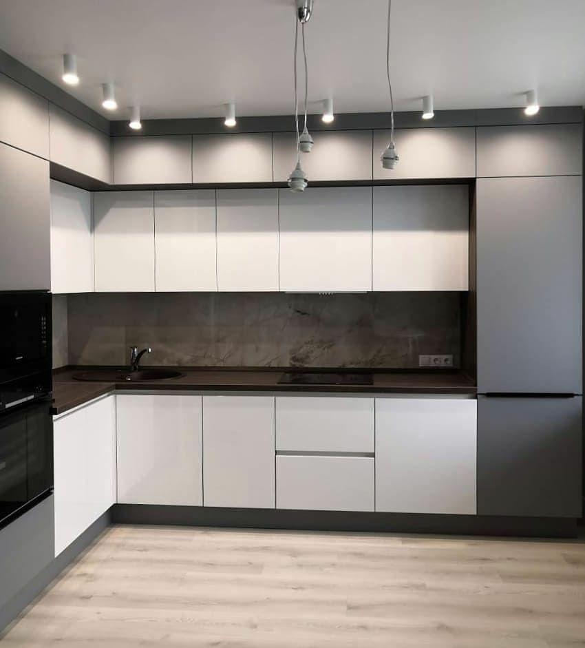 Белый кухонный гарнитур-Кухня МДФ в эмали «Модель 636»-фото1