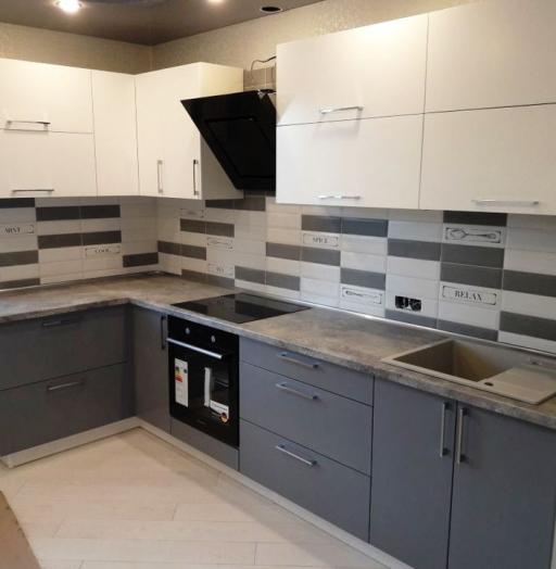 Белый кухонный гарнитур-Кухня из пластика «Модель 388»-фото2